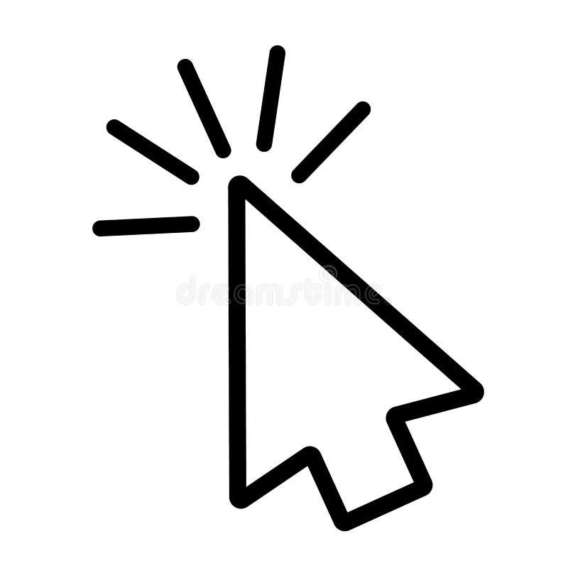 Линия значок щелчка в плоском стиле Символ щелчка изолированный на белой предпосылке Простой значок конспекта щелчка в черноте r иллюстрация вектора