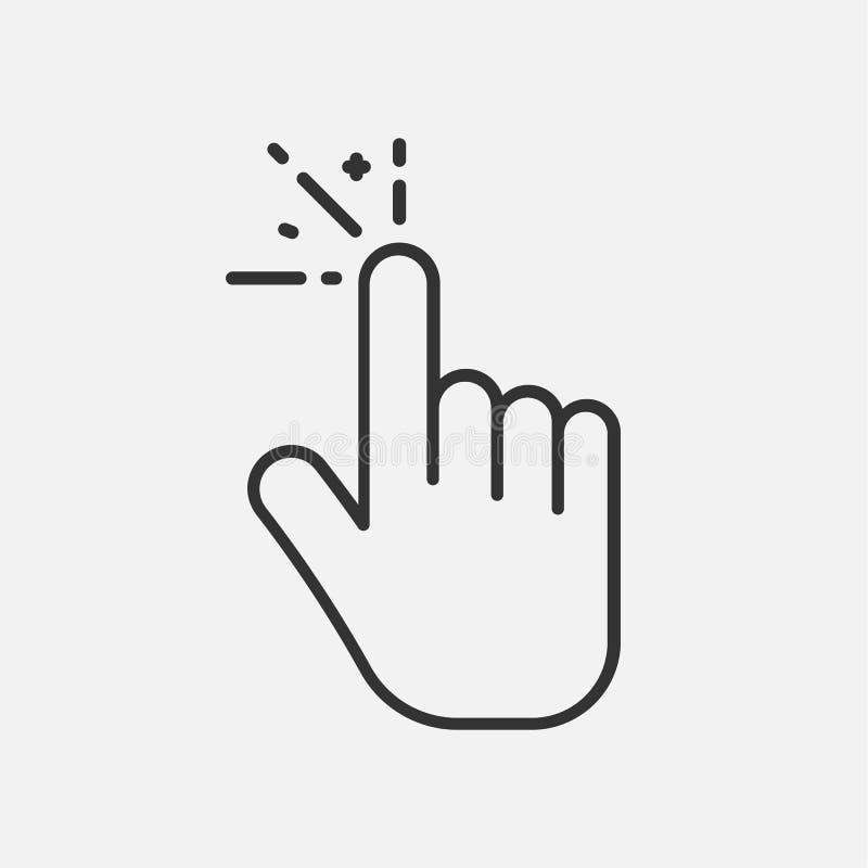 Линия значок щелчка изолированный на белой предпосылке также вектор иллюстрации притяжки corel бесплатная иллюстрация