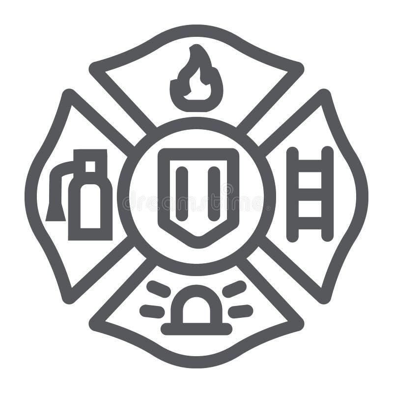 Линия значок эмблемы огня, символ и пожарный, знак значка огня, векторные графики, линейная картина на белой предпосылке иллюстрация вектора