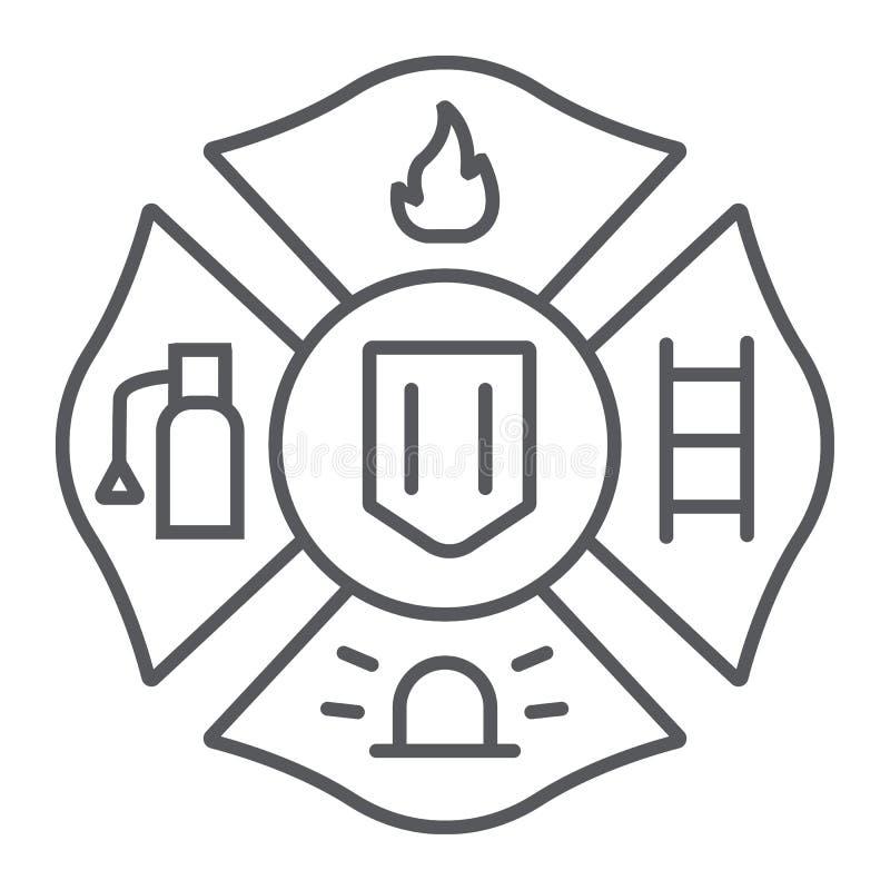Линия значок эмблемы огня тонкая, символ и пожарный, знак значка огня, векторные графики, линейная картина на белом иллюстрация вектора
