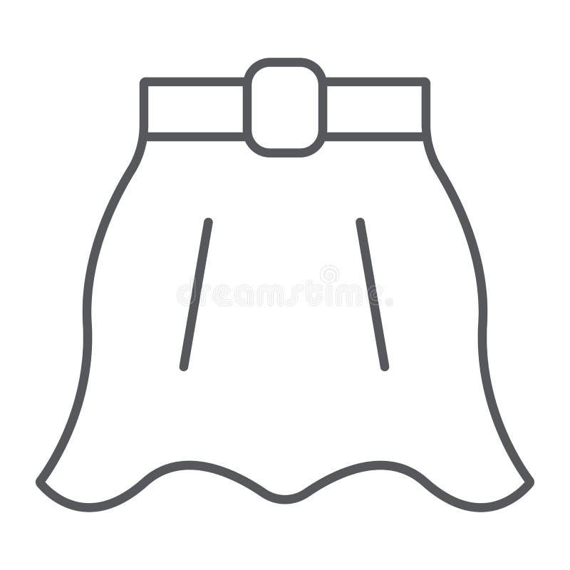 Линия значок юбки тонкая, одежды и женщина, flared знак юбки, векторные графики, линейная картина на белой предпосылке иллюстрация штока
