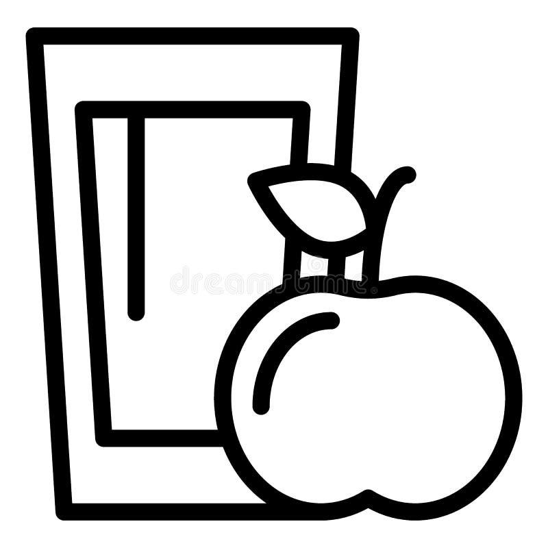 Линия значок яблочного сока и яблока Иллюстрация вектора напитка витамина изолированная на белизне Стекло стиля плана сока бесплатная иллюстрация