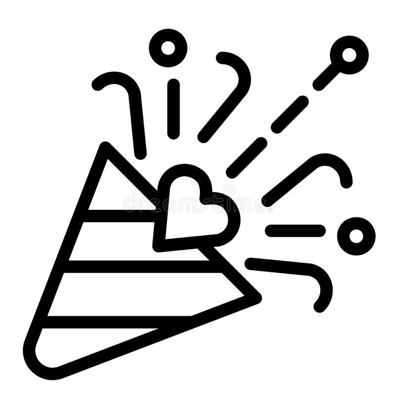 Линия значок язычка Иллюстрация вектора popper Confetti изолированная на белизне Дизайн стиля плана торжества, конструированный д бесплатная иллюстрация