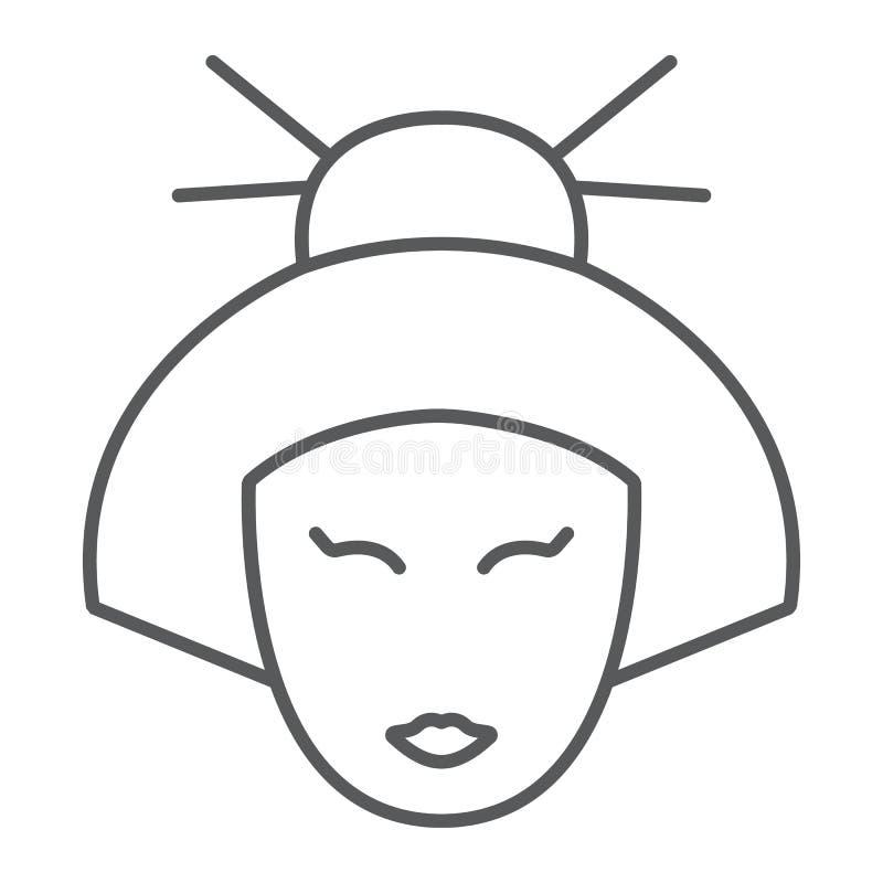 Линия значок, Япония и девушка гейши тонкая, японский знак женщины, векторные графики, линейная картина на белой предпосылке иллюстрация штока