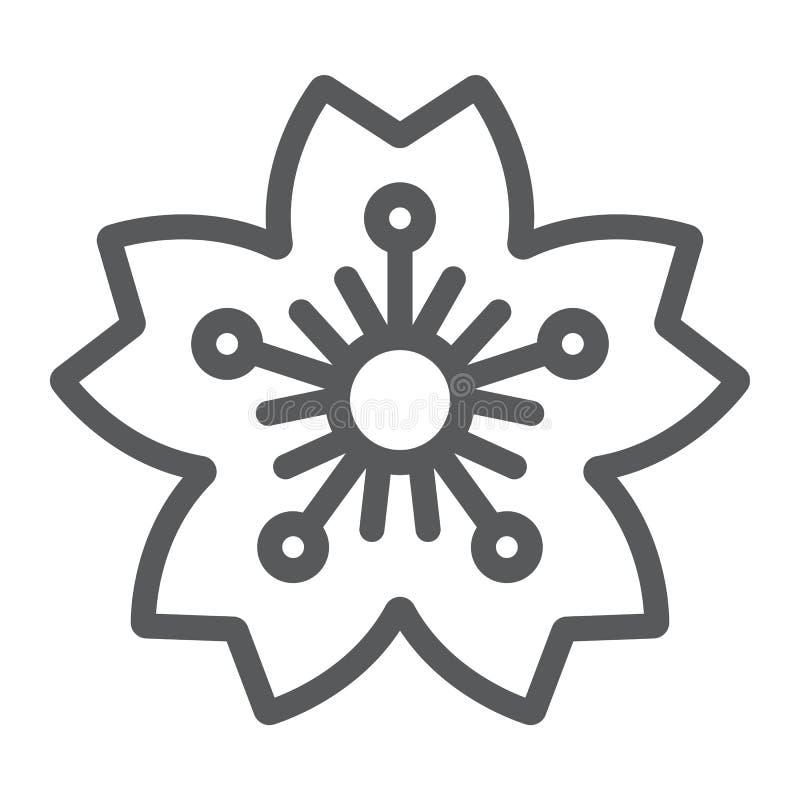 Линия значок, Япония и цветок Сакуры, знак вишневого цвета, векторные графики, линейная картина на белой предпосылке бесплатная иллюстрация