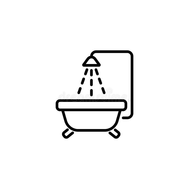 Линия значок bis ванны младенца иллюстрация штока