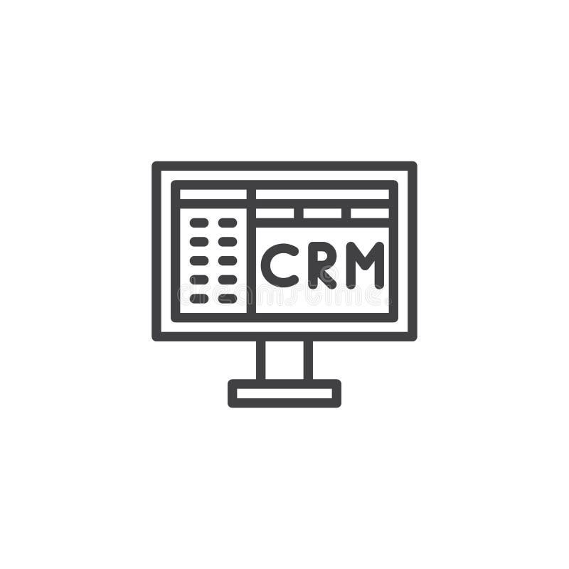 Линия значок Crm иллюстрация вектора