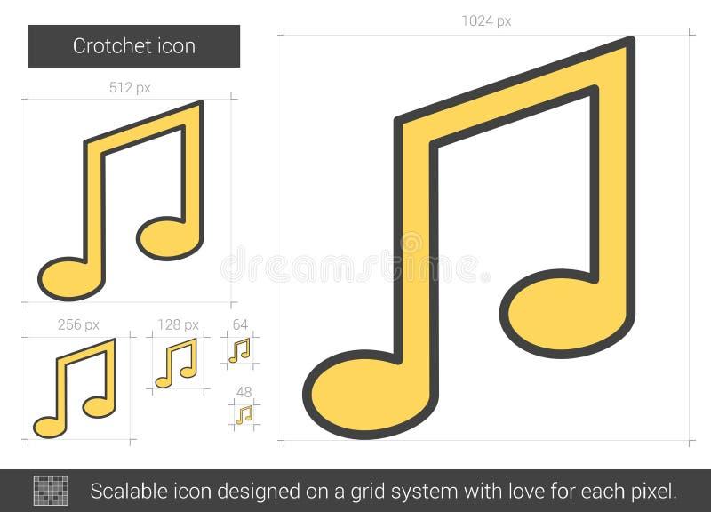 Линия значок Crotchet иллюстрация вектора