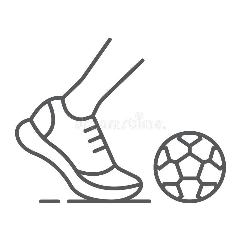 Линия значок Kickball тонкая, футбол и игра, нога со знаком шарика, векторными графиками, линейной картиной на белой предпосылке иллюстрация вектора