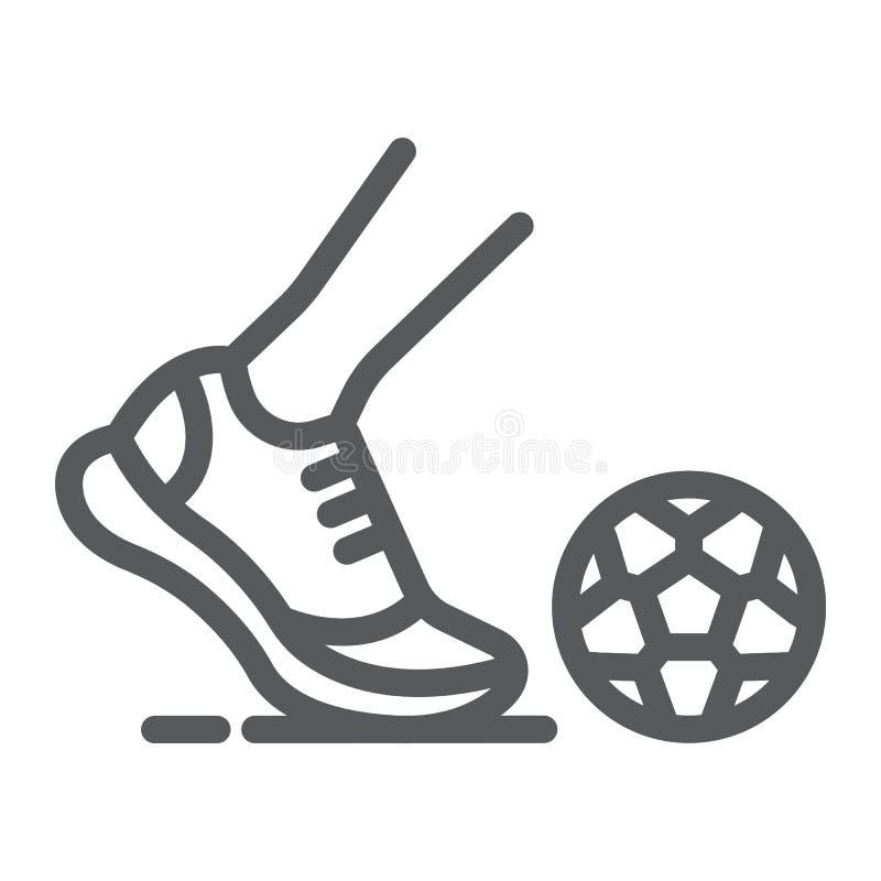 Линия значок Kickball, футбол и игра, нога со знаком шарика, векторными графиками, линейной картиной на белой предпосылке иллюстрация штока