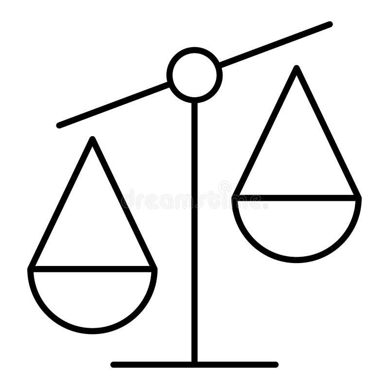 Линия значок Libra на белой предпосылке Значок вектора, дизайн плана 10 eps иллюстрация вектора