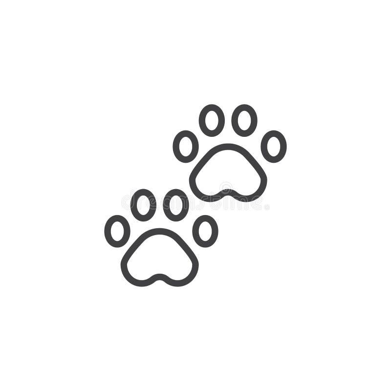 Линия значок Pawprints иллюстрация штока