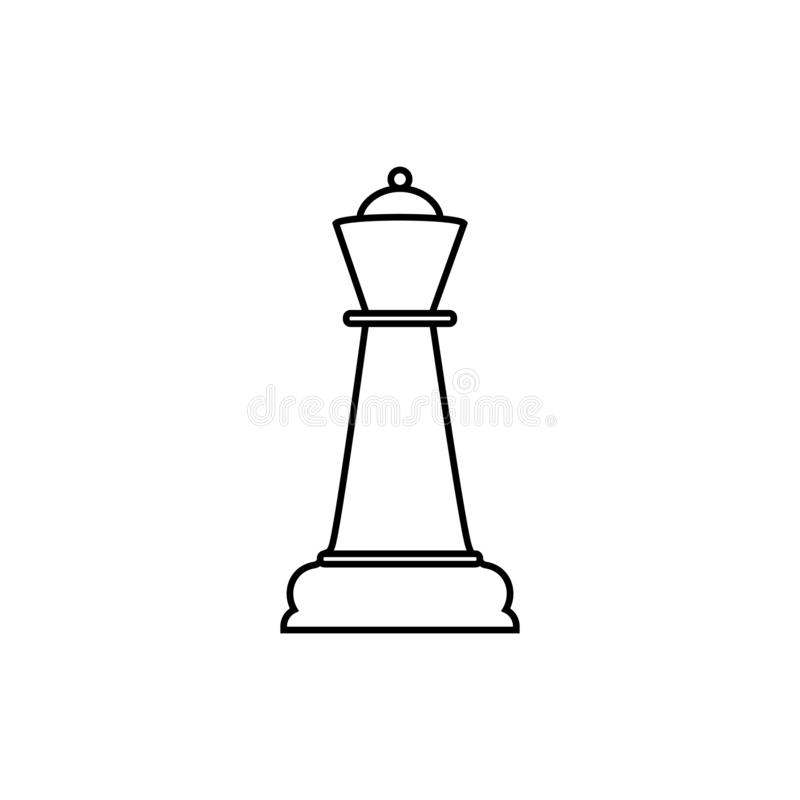 Линия значок Quenn шахмат Иллюстрация вектора, плоский дизайн иллюстрация вектора