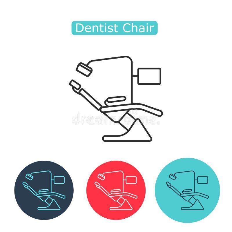 Линия зубоврачебного значка стула тонкая для сети и черни иллюстрация штока