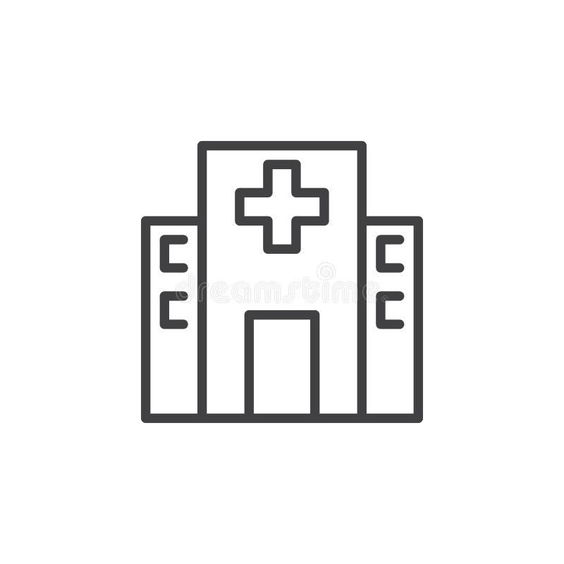 Линия здания значок больницы, знак вектора плана, линейная пиктограмма стиля изолированная на белизне иллюстрация штока