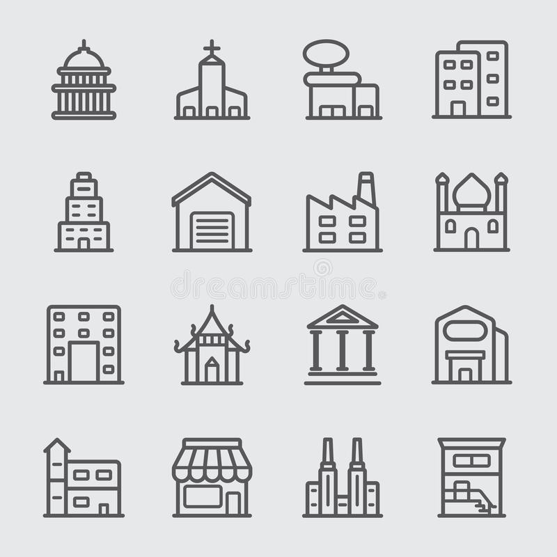 Линия здания значок бесплатная иллюстрация