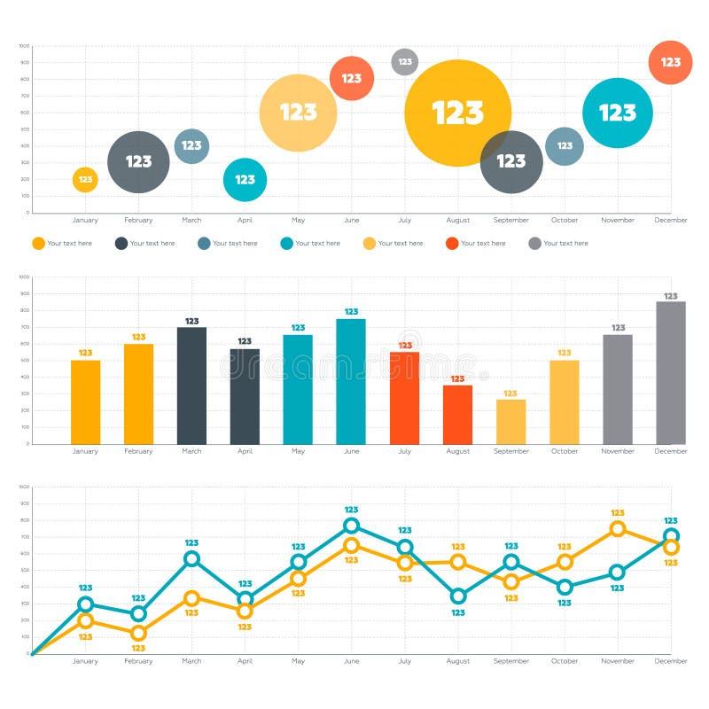 Линия диаграмма, диаграмма в виде вертикальных полос и круговая диаграмма бесплатная иллюстрация