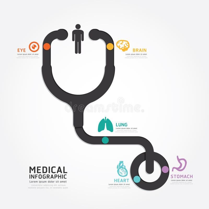 Линия диаграммы стетоскопа дизайна вектора Infographics медицинская иллюстрация штока