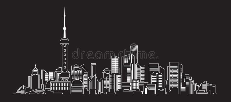 Линия дизайн здания городского пейзажа иллюстрации вектора искусства (фарфор) бесплатная иллюстрация