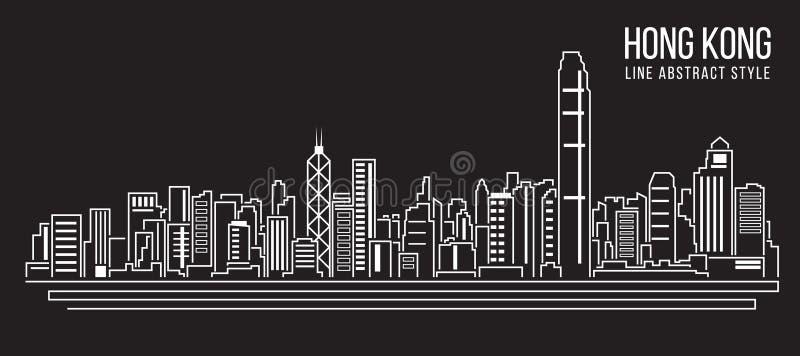 Линия дизайн здания городского пейзажа иллюстрации вектора искусства (город Гонконга) иллюстрация штока