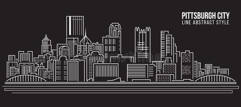 Линия дизайн здания городского пейзажа иллюстрации вектора искусства - город Питтсбурга иллюстрация штока