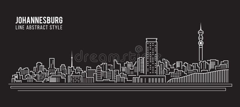 Линия дизайн здания городского пейзажа иллюстрации вектора искусства - город Йоханнесбурга