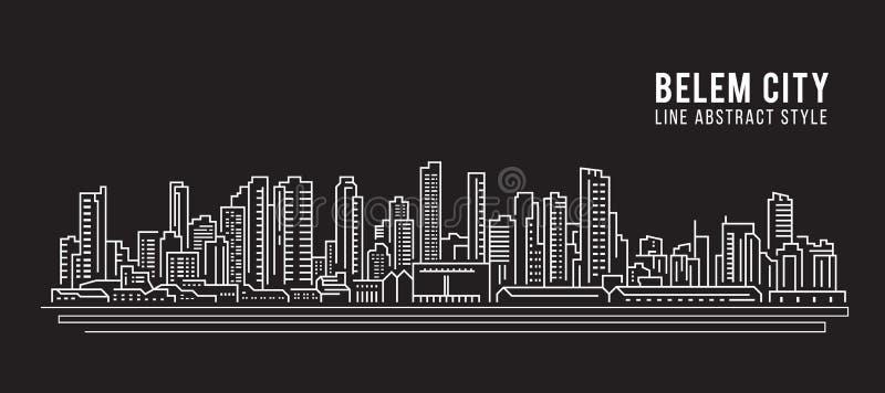 Линия дизайн здания городского пейзажа иллюстрации вектора искусства - город Belem иллюстрация штока