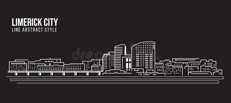 Линия дизайн здания городского пейзажа иллюстрации вектора искусства - город лимерика иллюстрация штока