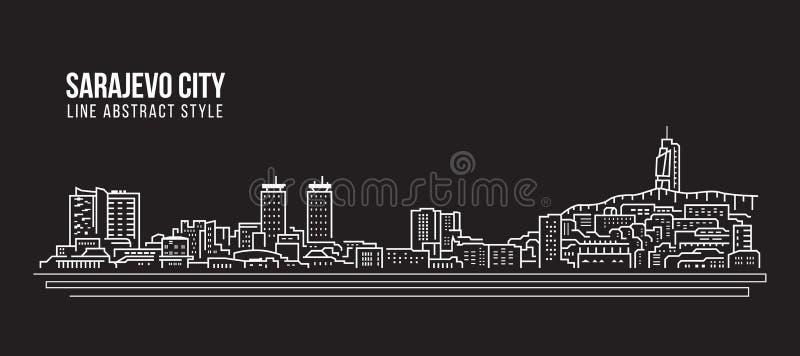 Линия дизайн здания городского пейзажа иллюстрации вектора искусства - город Сараева иллюстрация вектора