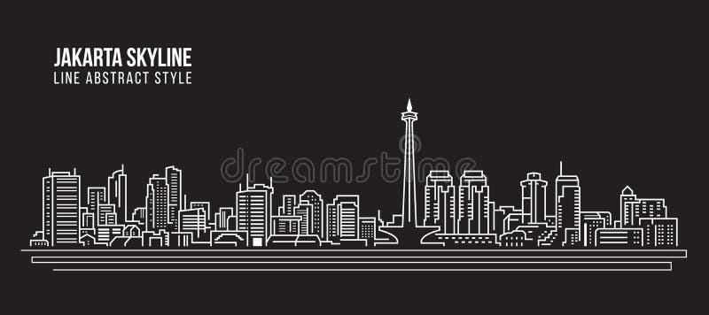 Линия дизайн здания городского пейзажа иллюстрации вектора искусства - горизонт города Джакарты иллюстрация штока