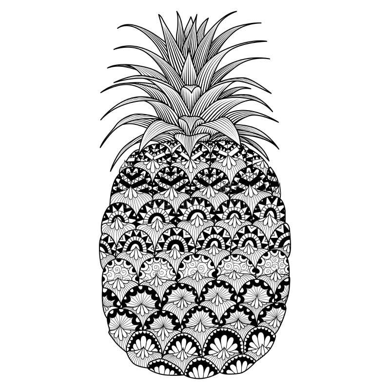 Линия дизайн искусства ананаса для книжка-раскраски для взрослого, логотипа, дизайна футболки, рогульки, татуирует и так далее иллюстрация вектора