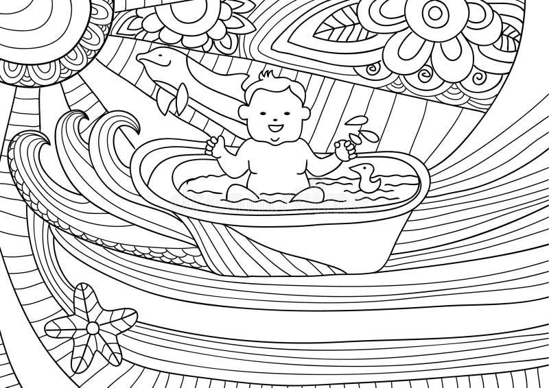 Линия дизайн искусства для книжка-раскраски для взрослого Усмехаясь младенец принимает ванну иллюстрация вектора