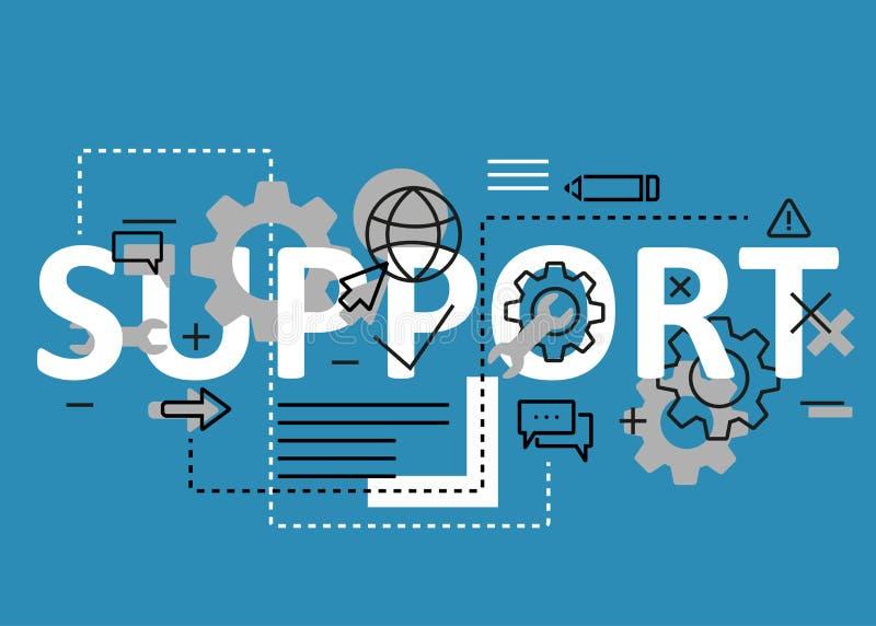 Линия дизайн концепции поддержки плоская с значками и элементами Современное собрание концепции s поддержки Литерность концепции  бесплатная иллюстрация