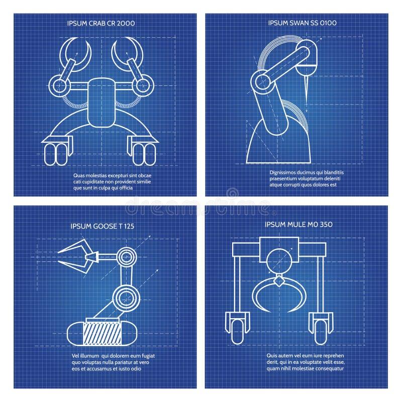 Линия дизайн оружий робота искусства иллюстрация вектора