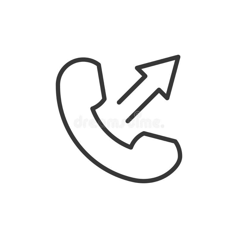 Линия изолированный значок телефона тонкая в плоском стиле Знак телефонного звонка вектора Мобильный телефон со стрелкой вверх Си иллюстрация штока