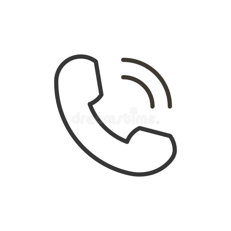 Линия изолированный значок телефона тонкая в плоском стиле Знак телефонного звонка вектора Мобильный телефон с волнами Символ тел бесплатная иллюстрация