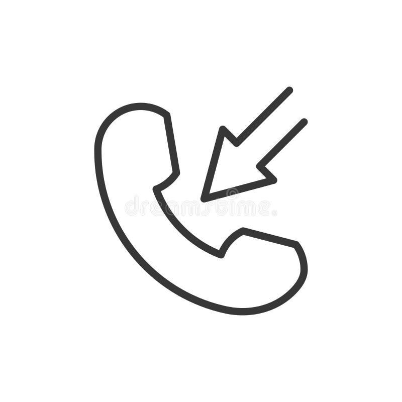 Линия изолированный значок телефона тонкая в плоском стиле Телефонный звонок s вектора бесплатная иллюстрация