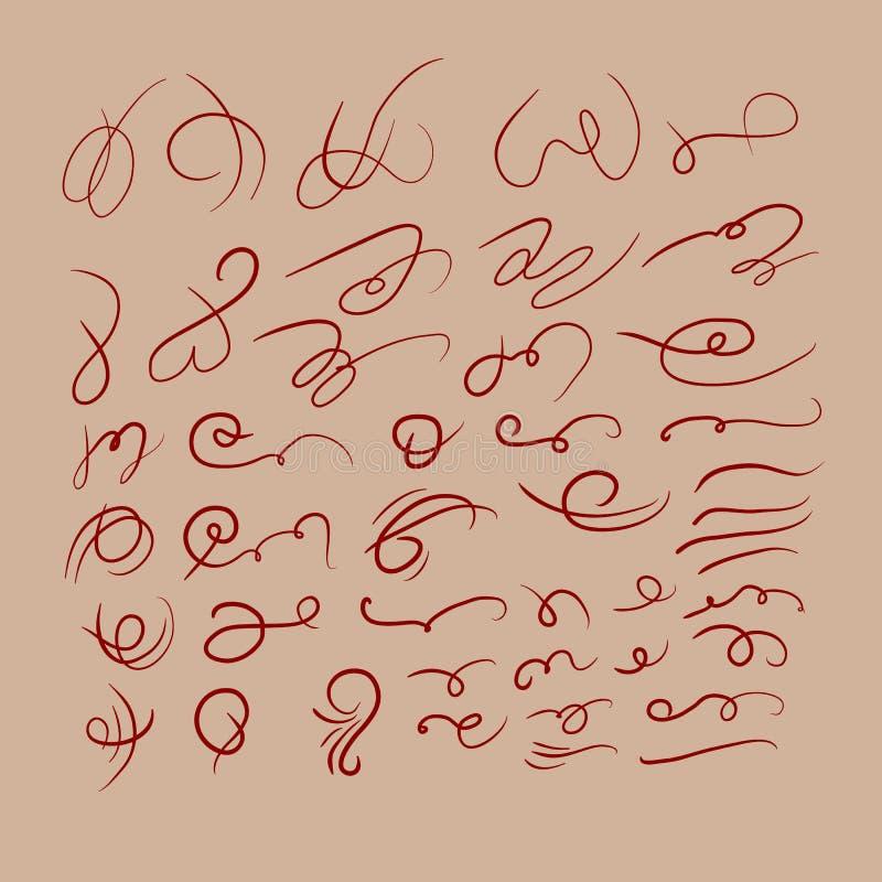 Линия изолированные картины Swirly скручиваемости иллюстрация штока