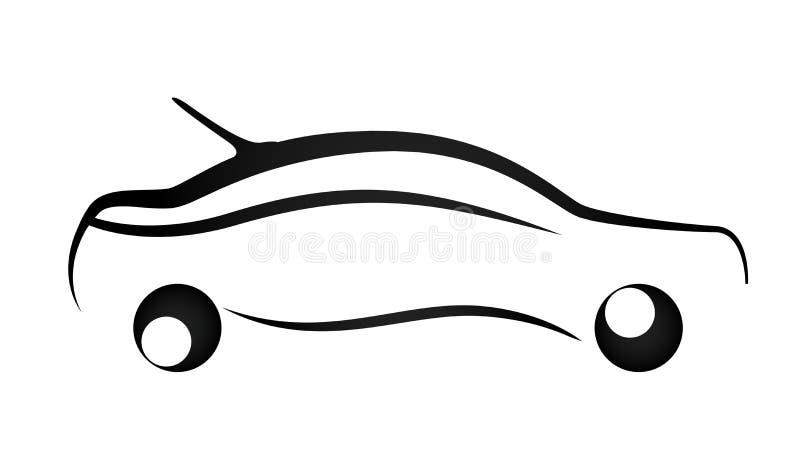 Линия иллюстрации значка логотипа автомобиля вектора элемента значка искусства автомобиля на белой предпосылке иллюстрация штока