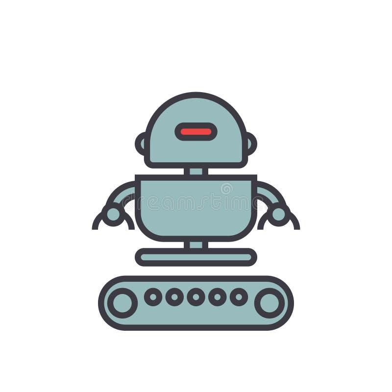 Линия иллюстрация армии промышленного робота плоская, вектор концепции изолировала значок иллюстрация штока