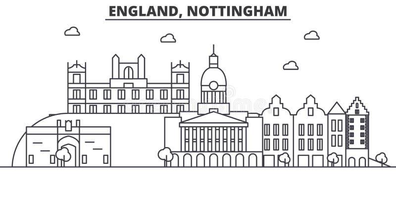 Линия иллюстрация архитектуры Англии, Ноттингема горизонта Линейный городской пейзаж с известными ориентир ориентирами, визирован бесплатная иллюстрация