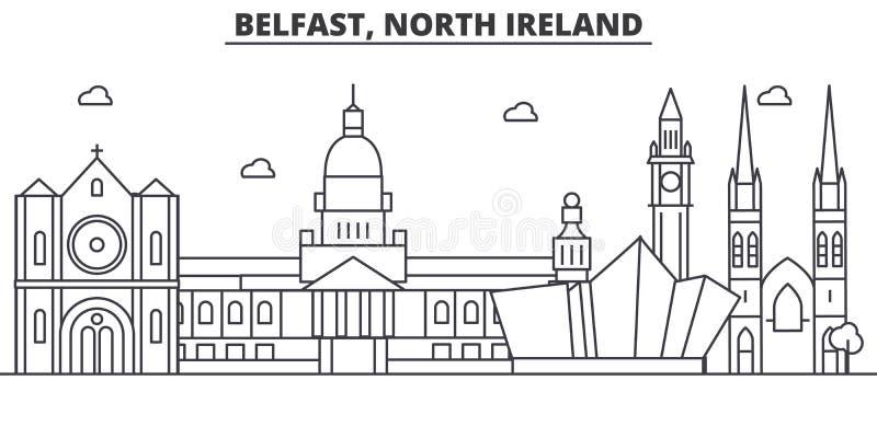 Линия иллюстрация архитектуры Белфаста, северная Ирландии горизонта Линейный городской пейзаж с известными ориентир ориентирами,  иллюстрация штока