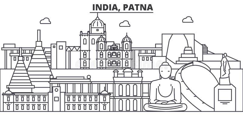Линия иллюстрация архитектуры Индии, Патны горизонта Линейный городской пейзаж с известными ориентир ориентирами, визирования век бесплатная иллюстрация