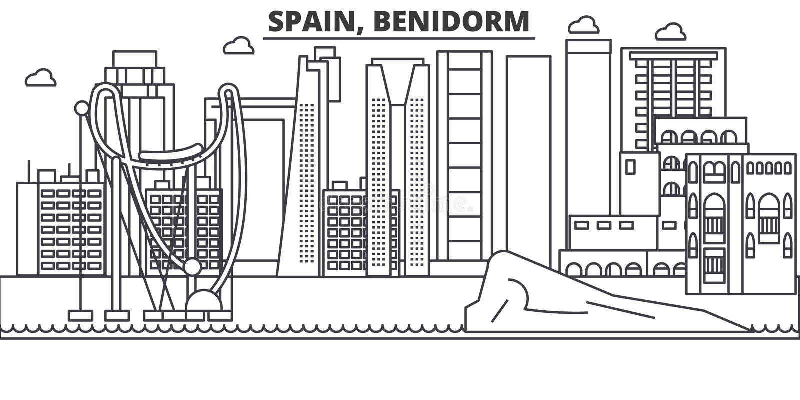 Линия иллюстрация архитектуры Испании, Benidorm горизонта Линейный городской пейзаж с известными ориентир ориентирами, визировани иллюстрация вектора