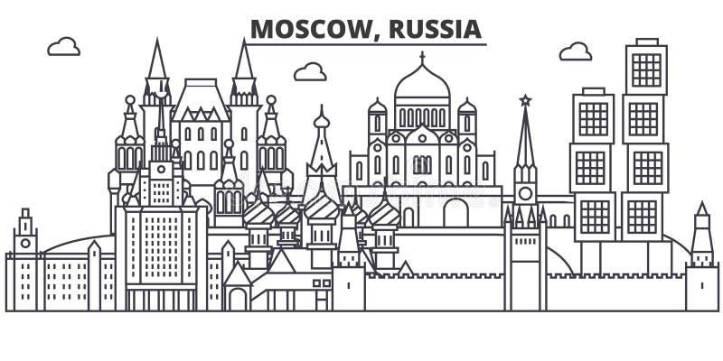 Линия иллюстрация архитектуры России, Москвы горизонта Линейный городской пейзаж с известными ориентир ориентирами, визирования в бесплатная иллюстрация