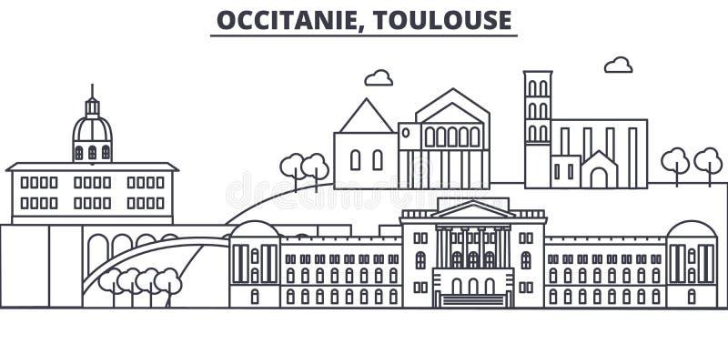 Линия иллюстрация архитектуры Франции, Тулуза горизонта Линейный городской пейзаж с известными ориентир ориентирами, визирования  бесплатная иллюстрация
