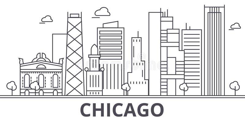 Линия иллюстрация архитектуры Чикаго горизонта Линейный городской пейзаж с известными ориентир ориентирами, визирования вектора г иллюстрация вектора
