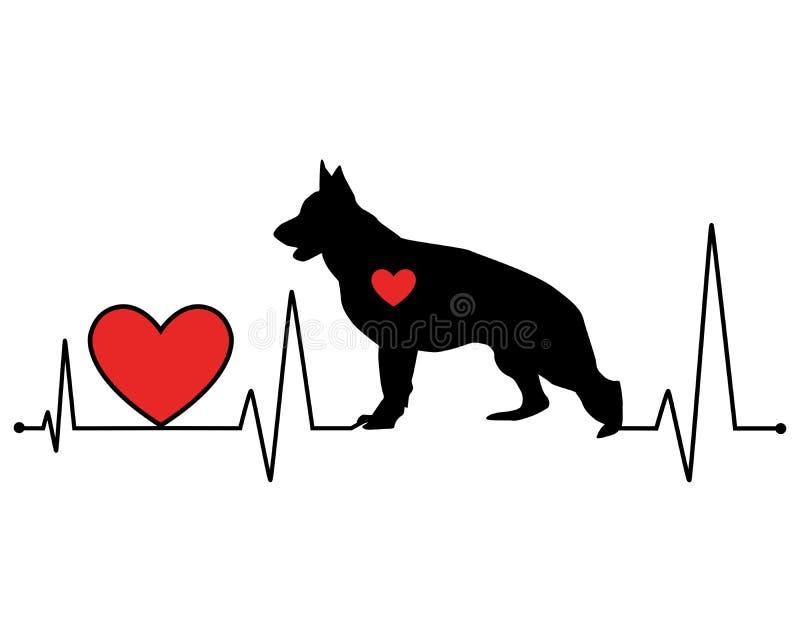 Линия иллюстрация биения сердца силуэта немецкой овчарки вектора стоковая фотография rf