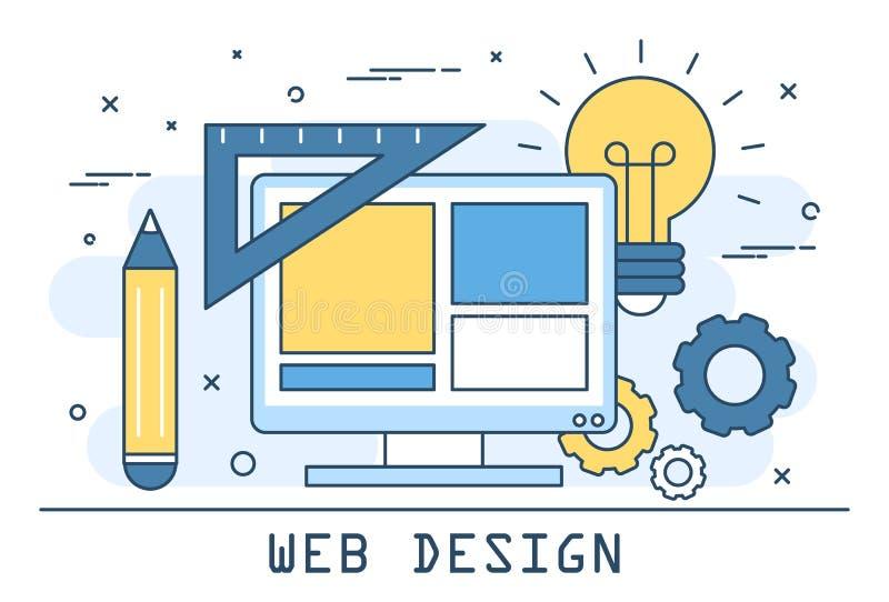Линия иллюстрация вектора веб-дизайна искусства Развитие вебсайта иллюстрация штока