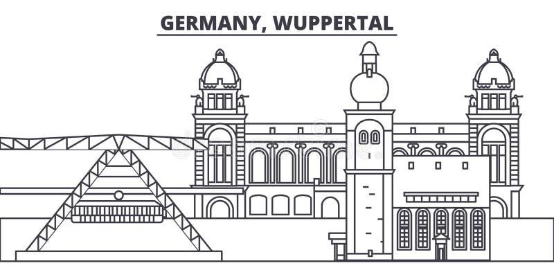 Линия иллюстрация Германии, Вупперталя вектора горизонта Германия, городской пейзаж с известными ориентир ориентирами, город Вупп иллюстрация вектора